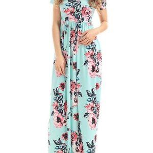 Dresses & Skirts - Jersey Knit Aqua Blue Floral Maxi Dress + Pockets